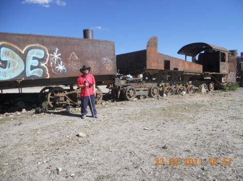 Tony at Train Cemetery, Uyuni.