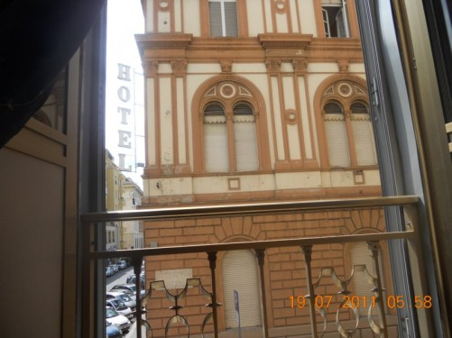 View from bedroom window in guesthouse, B&T Rooms (Via Dei Mille, 9 at intercom int, central Rome, near Termini train station).