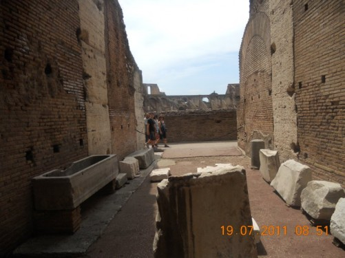 Various stone fragments inside the Colosseum.