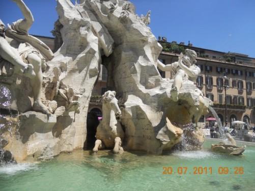 Fountain of the Four Rivers (Fontana dei Quattro Fiumi) in the centre of Piazza Navona, central Rome.