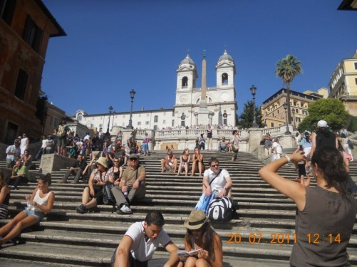 Spanish Steps up to Trinità dei Monti church.