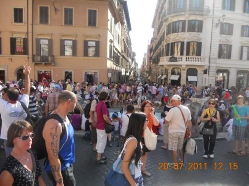 Piazza di Spagna with Fontana della Barcaccia (Boat Fountain) in the centre of the picture.