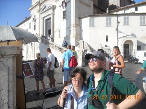 Tony and Tatiana outside Trinità dei Monti church.
