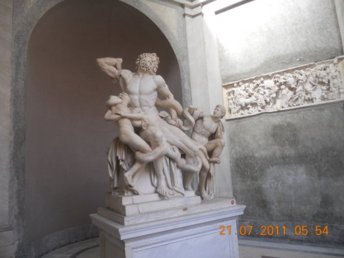 Ancient Greek statue of Laocoön and His Sons (also called the Laocoön Group) at the Vatican Museums. The statue shows the Trojan priest Laocoön and his sons Antiphantes and Thymbraeus being strangled by sea serpents.