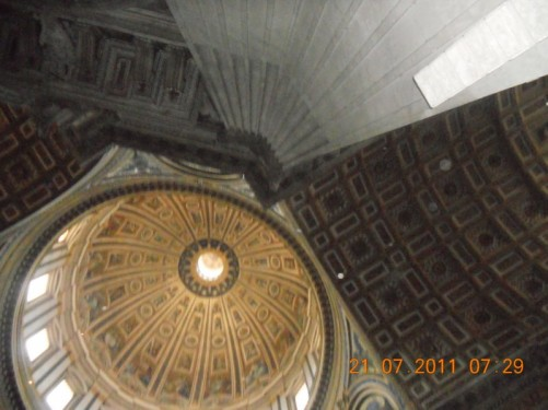 Looking into the dome of St. Peter's Basilica.