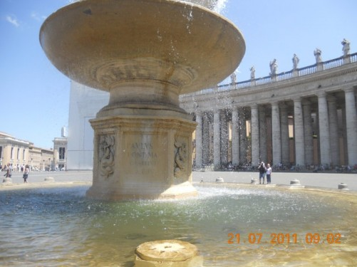 The Carlo Fontana fountain in St. Peter's Square.