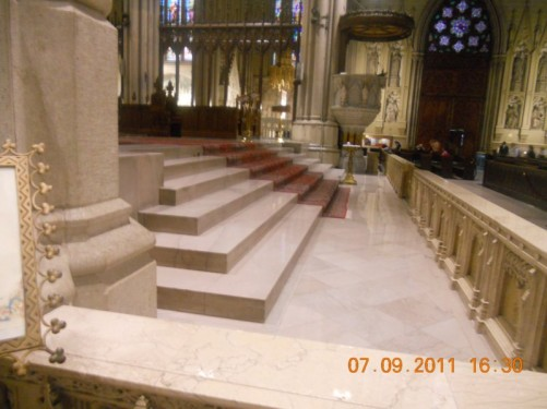 View near the main altar, St. Patrick's Roman Catholic Cathedral.