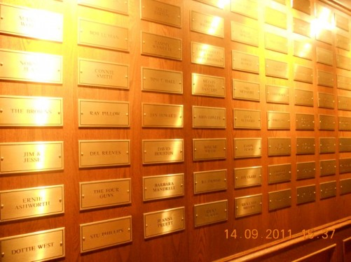 Wall with the list of the names of all the members of the Grand Ole Opry, a person's name is removed once they die.