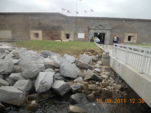 Fort Sumter entrance through thick fortified wall.