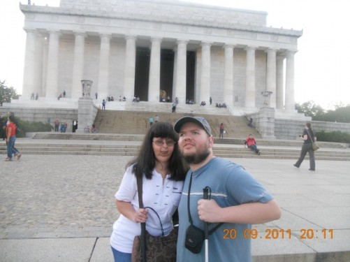 Tony, Tatiana outside the Lincoln Memorial in the early evening.