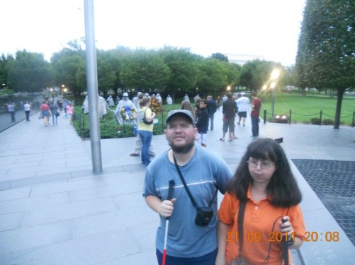 Tony, Tatiana at the Korean War Veterans Memorial.