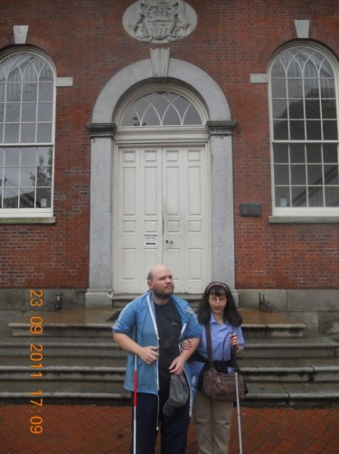 Tony, Tatiana outside the front entrance to Congress Hall.