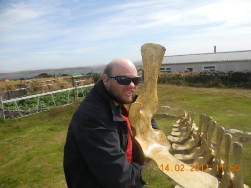 Another whale bone! This time Tony's holding a vertebra.