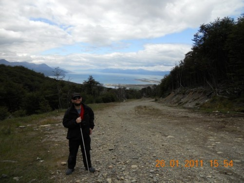 Tony, looking back down to the Beagle Channel at the edge of Ushuaia far below.