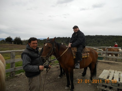 Tony starting a three-hour horse riding excursion in Ushuaia's exterior, including wading through the Beagle Channel.