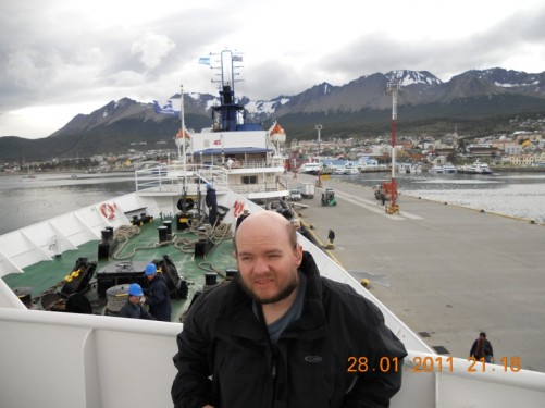 View of the southern Argentinian city of Ushuaia from the cruise ship. The ship, called the MV Ushuaia, took Tony to Antarctica.