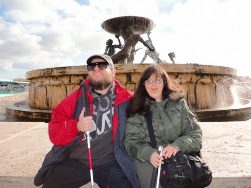 Tony and Tatiana in front of the Triton Fountain. Outside Valletta's City Gate and opposite the bus station.