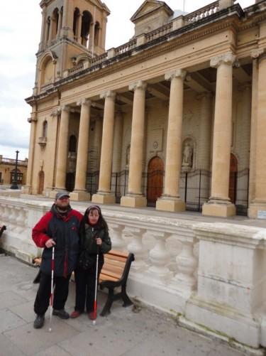Tony and Tatiana outside Paola parish church.