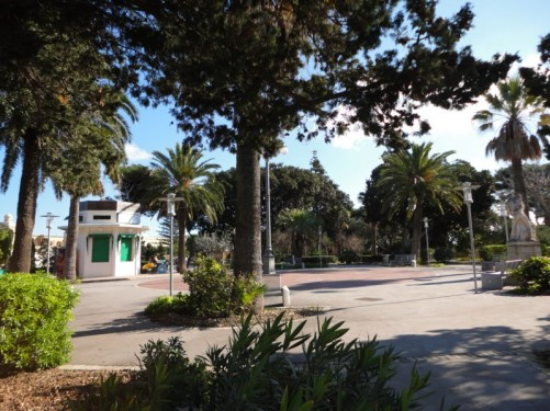 A public park outside the entrance to Mdina.
