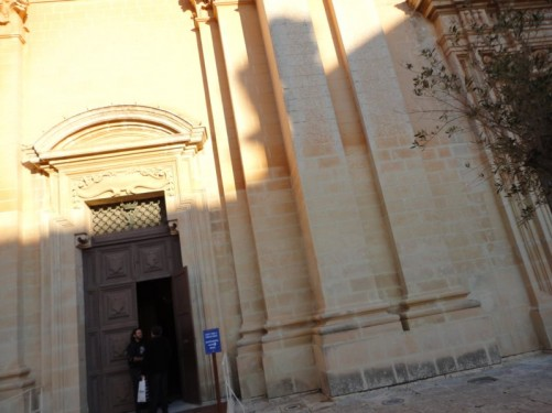 A door into the Cathedral of St Paul, Mdina.