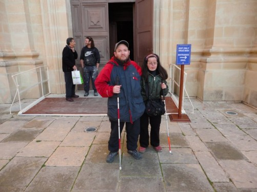 Tony and Tatiana outside the cathedral.