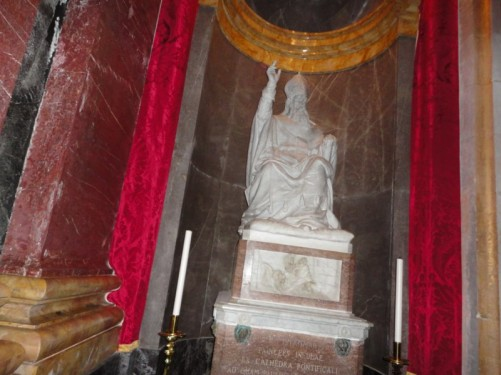 A statue inside the cathedral (possibly of St Paul).