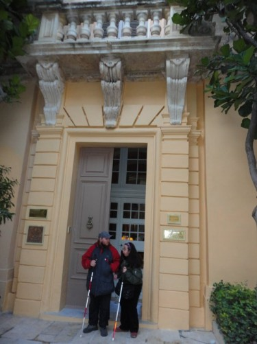 Tony and Tatiana outside the entrance to the Xara Palace Hotel.