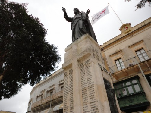 War memorial dedicated to Gozitans who died because of enemy action during World War II. Located at Independence Square, Victoria (Rabat).