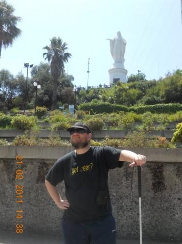 Up hill above Tony is a 22-metre (72-foot) high Virgin Mary statue at the peak of San Cristóbal Hill (Cerro San Cristóbal).