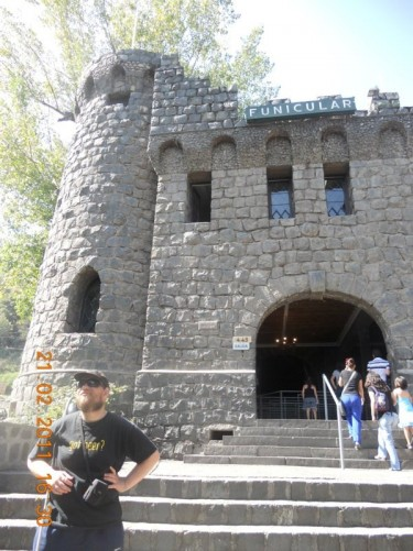 Tony at the other entrance to the funicular railway at the foot of the hill.