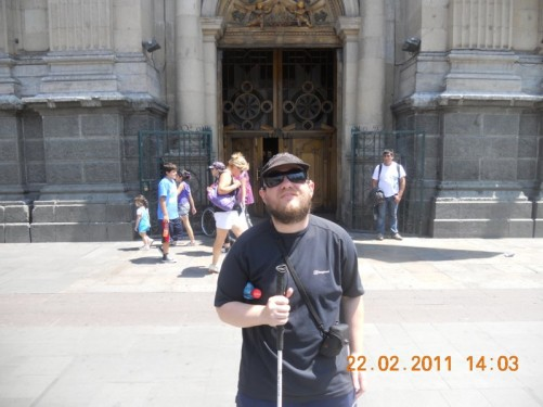 Tony outside the Metropolitan Cathedral of Santiago.