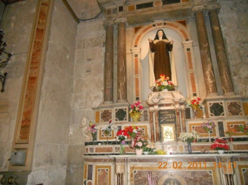 Looking up at the altar (Saint Teresa of the Andes).