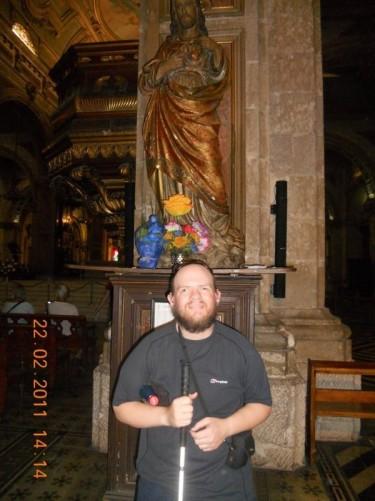 Tony inside the Metropolitan Cathedral of Santiago.