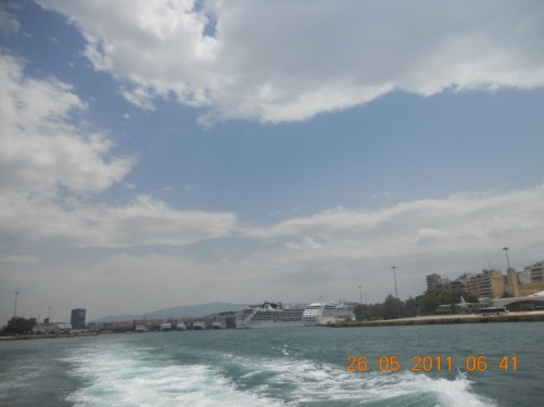 View of Piraeus port from the ferry as it heads out.