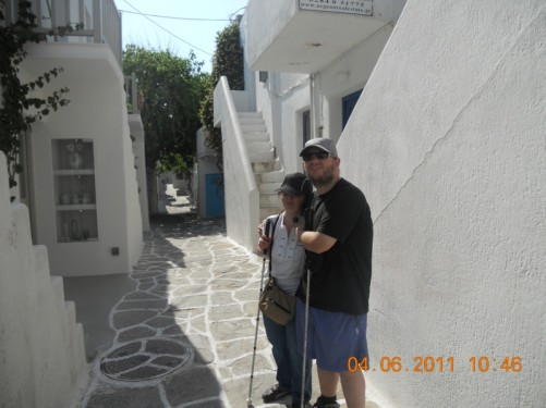 Tony and Tatiana in a narrow street.