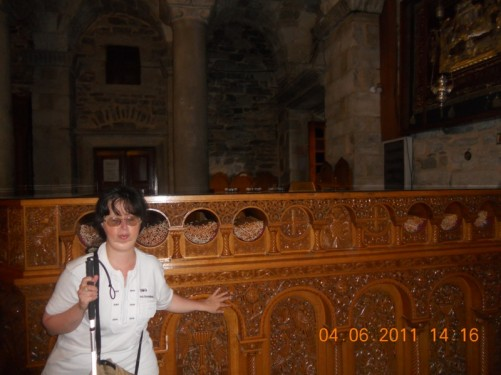 Tatiana inside the church.