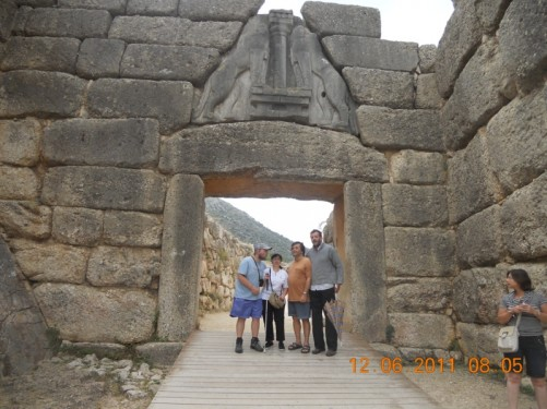 Tony, Tatiana, her Greek friend Zois, and a fellow tourist from Germany – stood in the stone 'Lion Gate' entrance of the ancient city and fortress.