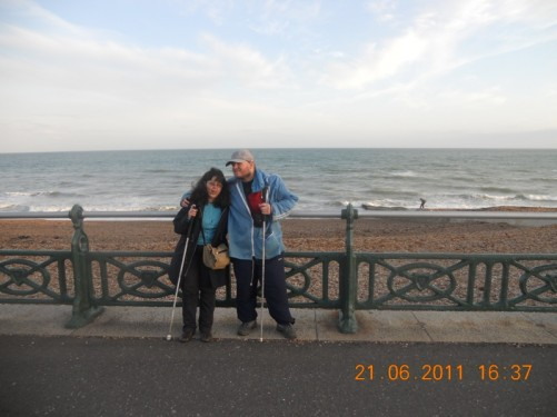 Tony and Tatiana on the sea front promenade.