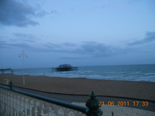 Looking towards the remains of the West Pier.