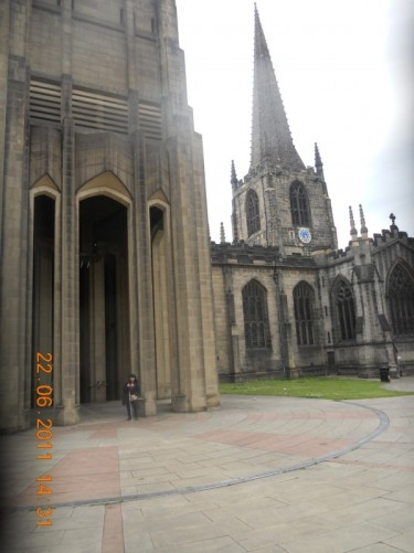 Outside Sheffield Cathedral, Church Street.