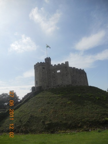 The Norman Keep raised up on a mound (motte). Cardiff Castle.