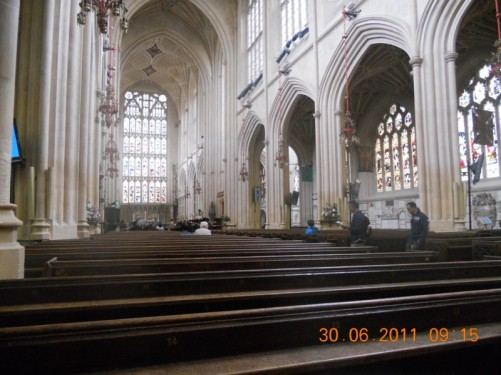 Inside the abbey looking along the central aisle.