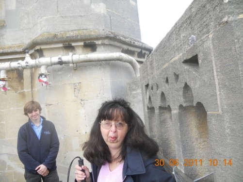 Tatiana on the Abbey tower.