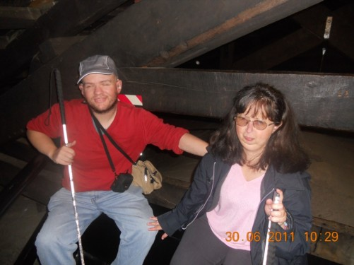 Tony and Tatiana inside the tower near the bells.