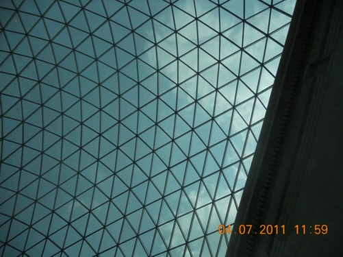 Looking up at the glass roof of the Grand Court at the British Museum.