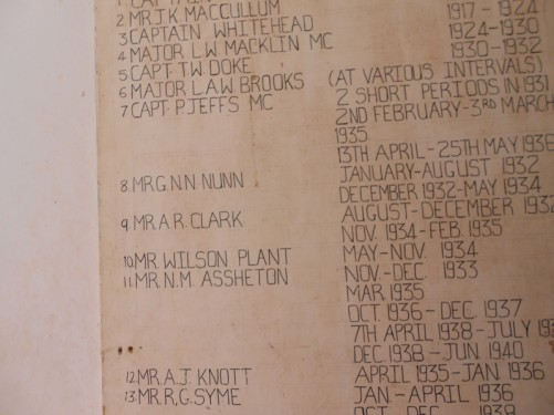 A list of names of British governors of Janjanbureh and dates of their office on a wall. The dates are from around 1910 onwards until Gambian independence in 1968.