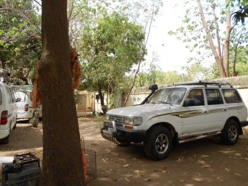 4x4 vehicles parked in the guesthouse compound.