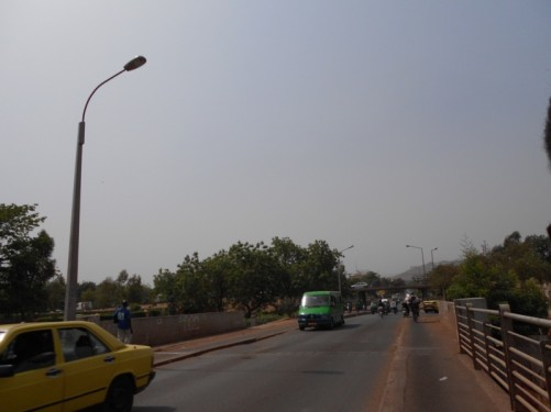 Heading into the centre of Bamako from the north end of Martyrs Bridge.