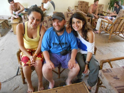 Tony sat with two young Portuguese ladies. Inside the Sleeping Camel compound.