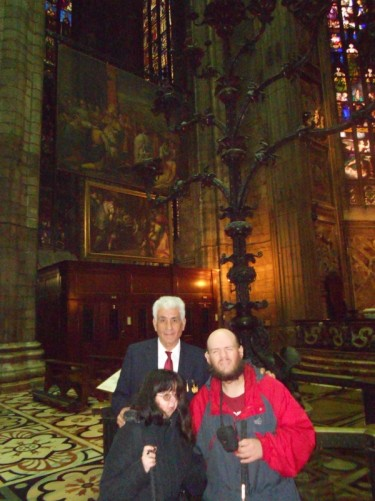 Tony and Tatiana with a cathedral staff member.
